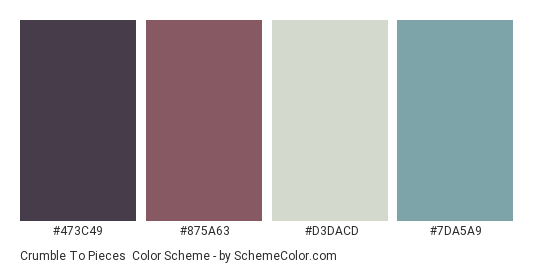 Crumble to Pieces - Color scheme palette thumbnail - #473C49 #875A63 #D3DACD #7DA5A9