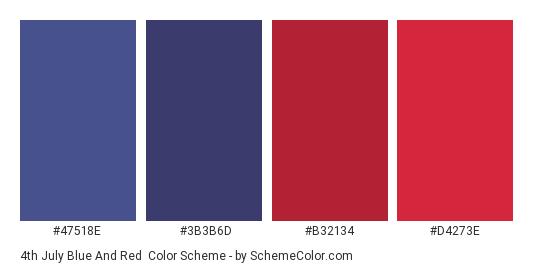 4th July Blue and Red - Color scheme palette thumbnail - #47518E #3B3B6D #B32134 #D4273E