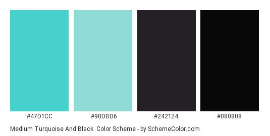 Medium Turquoise and Black - Color scheme palette thumbnail - #47d1cc #90dbd6 #242124 #080808