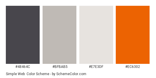 Simple Web - Color scheme palette thumbnail - #48464c #bfbab5 #e7e3df #ec6302