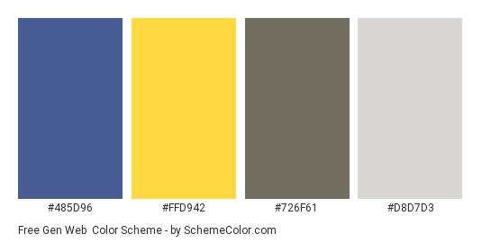 Free Gen Web - Color scheme palette thumbnail - #485d96 #ffd942 #726f61 #d8d7d3