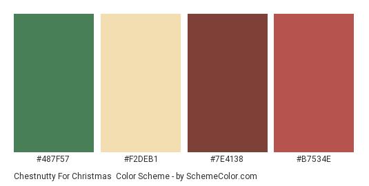Chestnutty for Christmas - Color scheme palette thumbnail - #487f57 #f2deb1 #7e4138 #b7534e