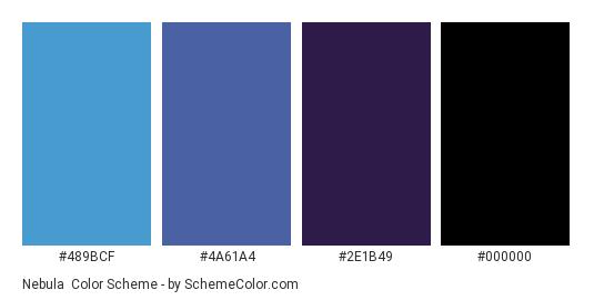 Nebula - Color scheme palette thumbnail - #489BCF #4A61A4 #2E1B49 #000000