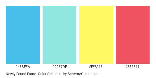 Newly Found Fame - Color scheme palette thumbnail - #48BFEA #90E7DF #FFFA63 #EE5361