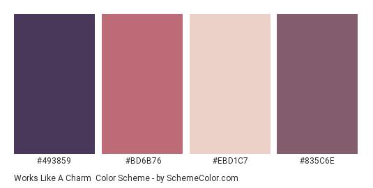 Works like a Charm - Color scheme palette thumbnail - #493859 #BD6B76 #EBD1C7 #835C6E
