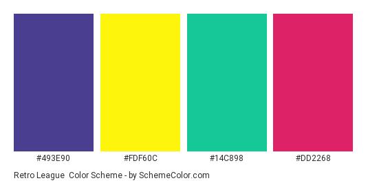 Retro League - Color scheme palette thumbnail - #493e90 #fdf60c #14c898 #dd2268