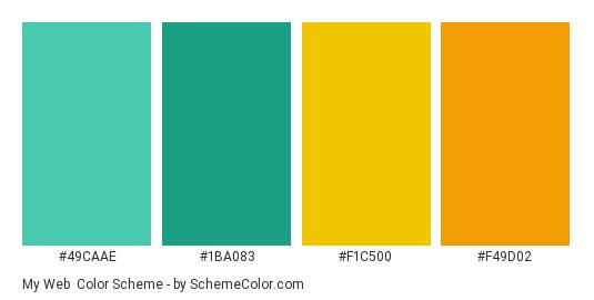 My Web - Color scheme palette thumbnail - #49caae #1ba083 #f1c500 #f49d02