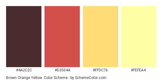 Brown Orange Yellow Color Scheme Palette Thumbnail 4a2c2c D3504a Ffdc76
