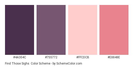 Find Those Sighs - Color scheme palette thumbnail - #4A304C #755772 #FFCDCB #e8848e