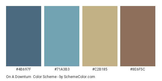On a Downturn - Color scheme palette thumbnail - #4B697F #71A3B3 #C2B185 #8E6F5C