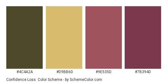 Confidence Loss - Color scheme palette thumbnail - #4C4A2A #D9BB6D #9E535D #7B394D