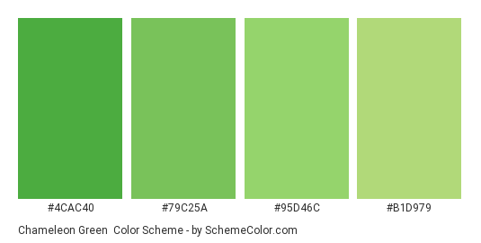 Chameleon Green - Color scheme palette thumbnail - #4CAC40 #79C25A #95D46C #B1D979