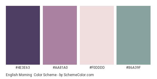 English Morning - Color scheme palette thumbnail - #4E3E63 #AA81A0 #F0DDDD #86A39F