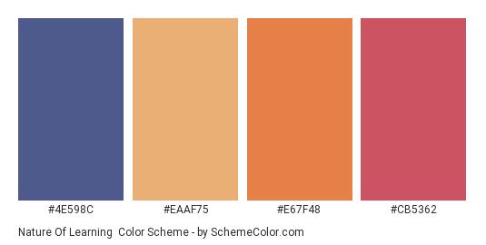 Nature of Learning - Color scheme palette thumbnail - #4E598C #eaaf75 #e67f48 #CB5362