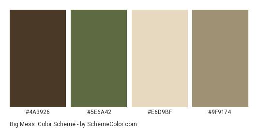 Big Mess - Color scheme palette thumbnail - #4a3926 #5e6a42 #e6d9bf #9f9174
