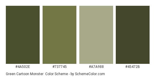 Green Cartoon Monster - Color scheme palette thumbnail - #4a502e #737745 #a7a988 #45472b