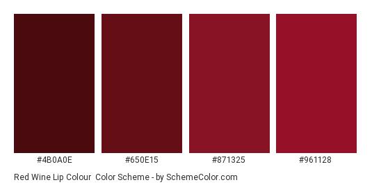 Red Wine Lip Colour - Color scheme palette thumbnail - #4b0a0e #650e15 #871325 #961128