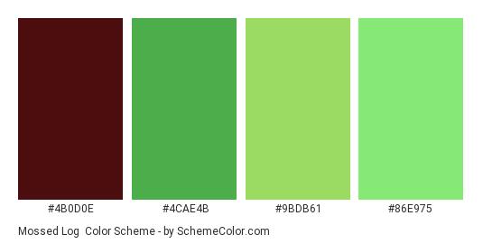 Mossed Log - Color scheme palette thumbnail - #4b0d0e #4cae4b #9bdb61 #86e975