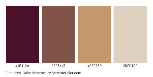 Furtitures - Color scheme palette thumbnail - #4b112a #805447 #c6976d #ded1c0