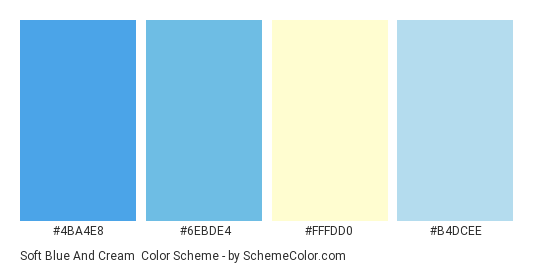 Soft Blue And Cream Color Scheme Palette Thumbnail 4ba4e8 6ebde4 Fffdd0