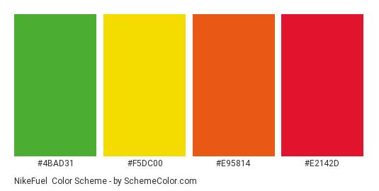 NikeFuel - Color scheme palette thumbnail - #4bad31 #f5dc00 #e95814 #e2142d