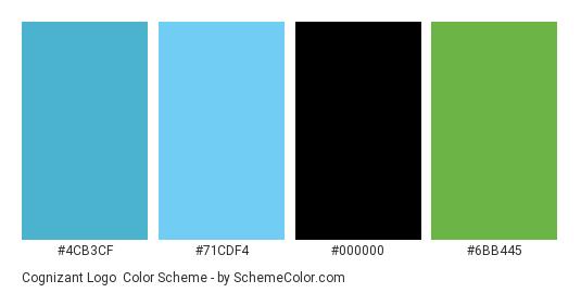 Cognizant Logo - Color scheme palette thumbnail - #4cb3cf #71cdf4 #000000 #6bb445