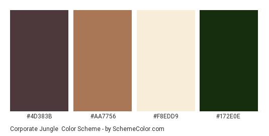 Corporate Jungle - Color scheme palette thumbnail - #4d383b #aa7756 #f8edd9 #172e0e