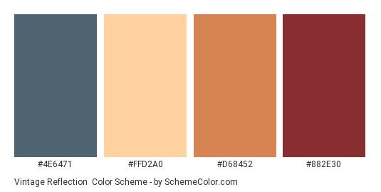 Vintage Reflection - Color scheme palette thumbnail - #4e6471 #ffd2a0 #d68452 #882e30
