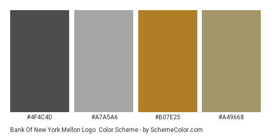 Bank of New York Mellon Logo - Color scheme palette thumbnail - #4f4c4d #a7a5a6 #b07e25 #a49668