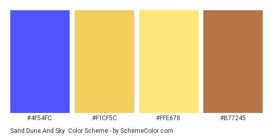 Sand Dune and Sky - Color scheme palette thumbnail - #4f54fc #f1cf5c #ffe678 #B77245