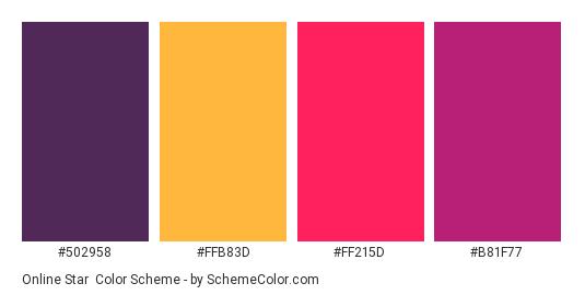 Online Star - Color scheme palette thumbnail - #502958 #FFB83D #FF215D #B81F77