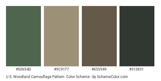 U.S. Woodland Camouflage Pattern - Color scheme palette thumbnail - #50654d #9c9177 #655949 #313831