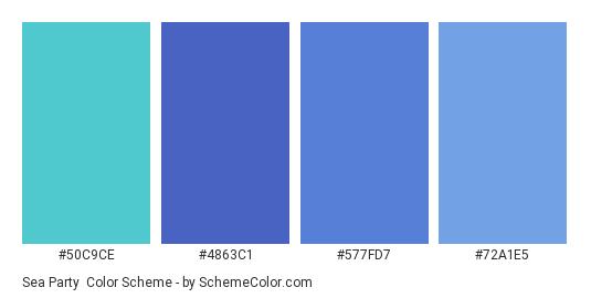 Sea Party - Color scheme palette thumbnail - #50C9CE #4863C1 #577FD7 #72A1E5