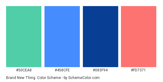 Brand New Thing - Color scheme palette thumbnail - #50cea8 #458cfe #083f94 #fd7371