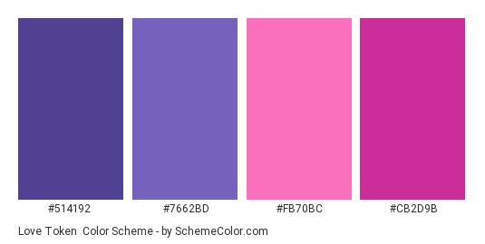 Love Token - Color scheme palette thumbnail - #514192 #7662BD #FB70BC #CB2D9B