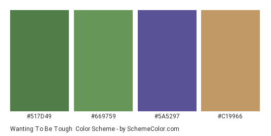 Wanting to be Tough - Color scheme palette thumbnail - #517d49 #669759 #5a5297 #c19966