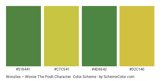 Woozles – Winnie the Pooh Character - Color scheme palette thumbnail - #518441 #c7c541 #4d8642 #d2c140