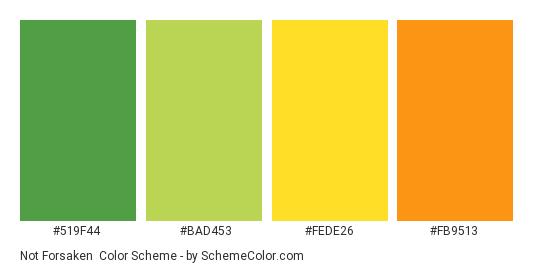 Not Forsaken - Color scheme palette thumbnail - #519F44 #BAD453 #FEDE26 #FB9513