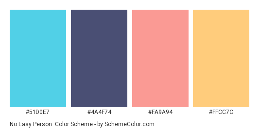 No Easy Person - Color scheme palette thumbnail - #51D0E7 #4A4F74 #FA9A94 #FFCC7C