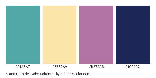 Stand Outside - Color scheme palette thumbnail - #51a8a7 #fbe5a9 #b275a3 #1c2657