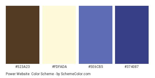 Power Website - Color scheme palette thumbnail - #523a23 #fdfada #5e6cb5 #374087