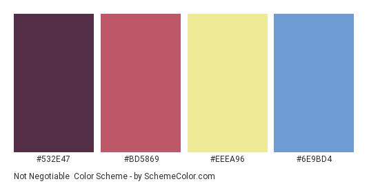 Not Negotiable - Color scheme palette thumbnail - #532E47 #BD5869 #eeea96 #6E9BD4
