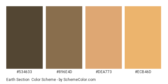 Earth Section - Color scheme palette thumbnail - #534633 #896E4D #DEA773 #ECB46D