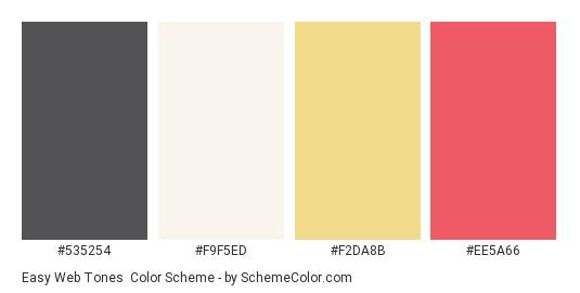 Easy Web Tones - Color scheme palette thumbnail - #535254 #f9f5ed #f2da8b #ee5a66