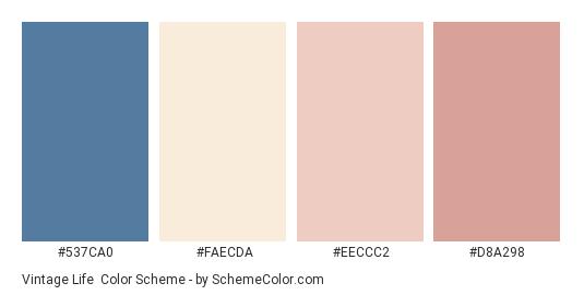 Vintage Life - Color scheme palette thumbnail - #537ca0 #FAECDA #EECCC2 #D8A298