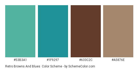 Retro Browns and Blues - Color scheme palette thumbnail - #53B3A1 #1F9297 #633C2C #A5876E