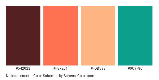No Instruments - Color scheme palette thumbnail - #542022 #FE7251 #FDB583 #0C9F8C