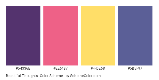 Beautiful Thoughts - Color scheme palette thumbnail - #54336E #EE6187 #FFDE68 #5B5F97
