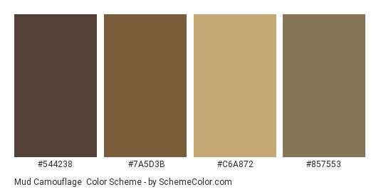 Mud Camouflage - Color scheme palette thumbnail - #544238 #7A5D3B #C6A872 #857553