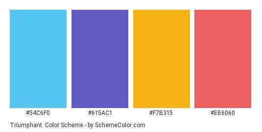 Triumphant - Color scheme palette thumbnail - #54C6F0 #615AC1 #F7B315 #EB6060